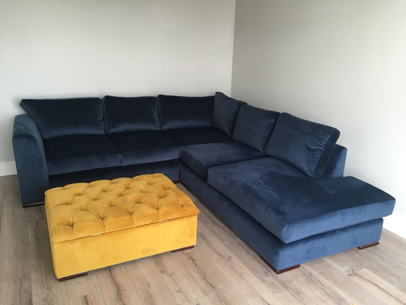Navy Velvet Arna L Shape Sofa With A Deep Buttoned Storage