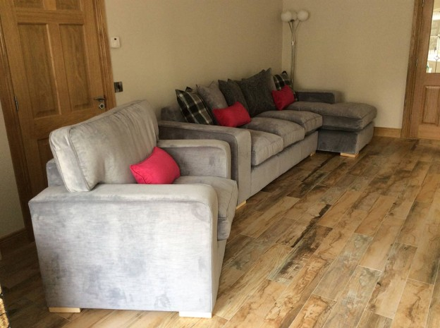 Extended grey Sofa and matching chair