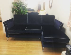 """Navy """"Bob"""" Sofa with extended seat and contrast piping."""