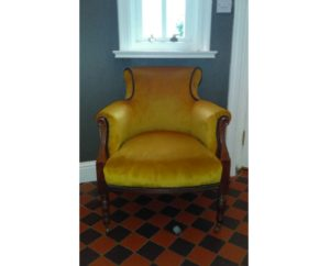 Antique Chair in mustard Velvet with grey contrast piping